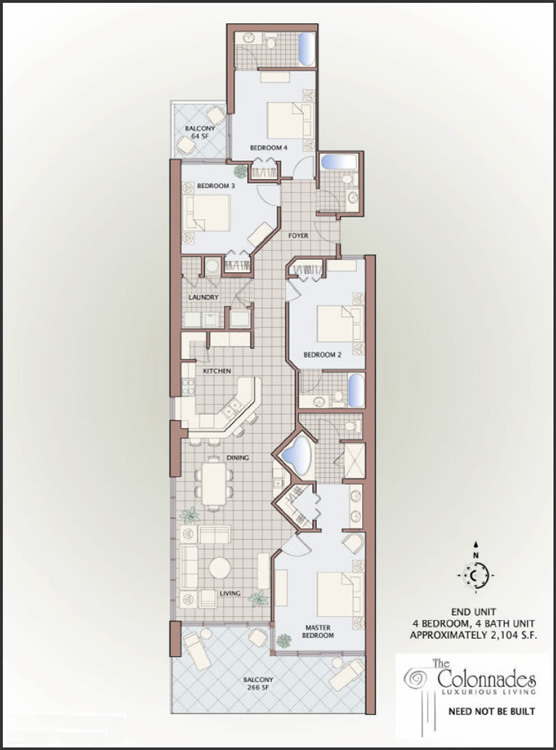 Floor plans for gulf shores alabama colonnades 4 bedroom for Beach house plans gulf coast