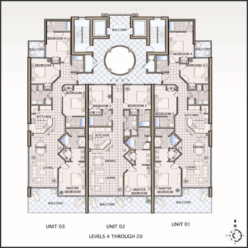 Floor plans for gulf shores alabama colonnades 4 bedroom for 4 unit condo plans